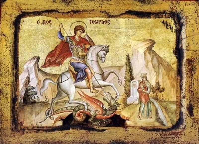 Фрагмент иконы. Георгий избавляет дочь царя Бейрута от крылатого змея.