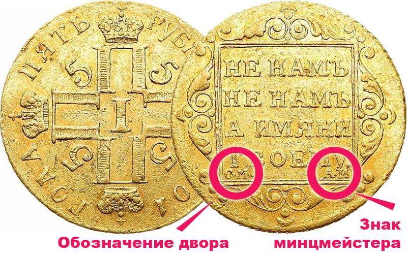 знак двора и инициалы минцмейстера