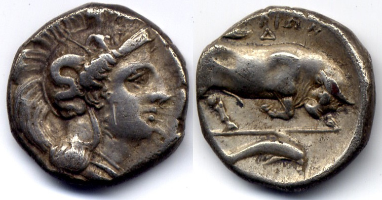 Античная монета с быком