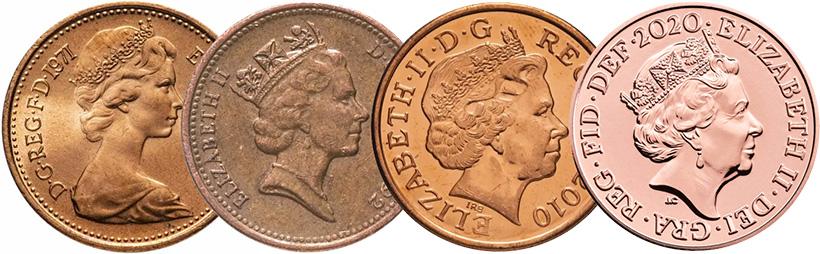Портреты Елизаветы 2 на монетах Великобритании