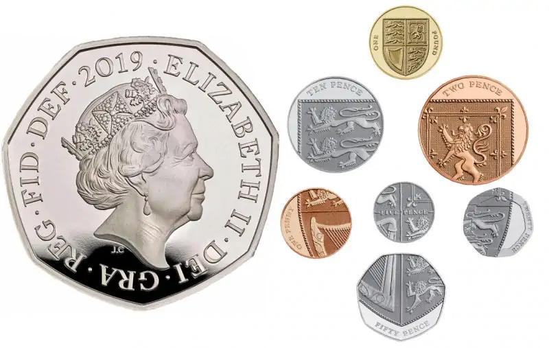 Королевский щит на монетах Великобритании