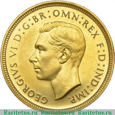 Аверс монеты соверен (sovereign) 1937   proof