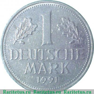 Реверс монеты 1 марка (deutsche mark) 1991