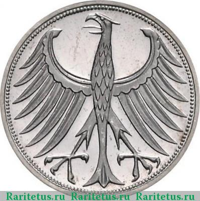 Реверс монеты 5 deutsche mark (марок) 1961