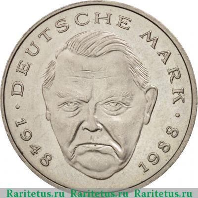 Реверс монеты 2 deutsche mark (марки) 1990