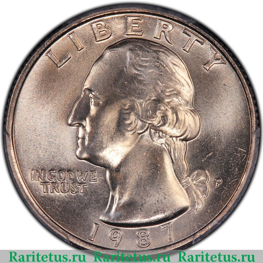 Монета quarter dollar liberty 1987 года цена 65 в рублях