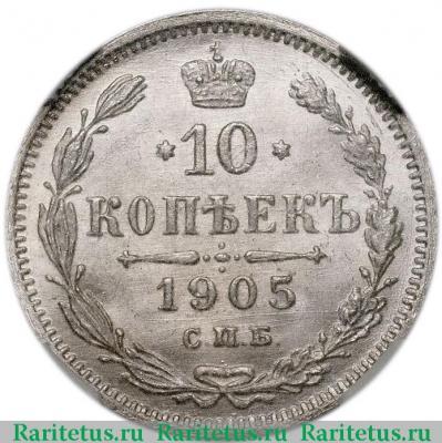 Цена 10 копеек 1905 года серебряные монеты россии 2016