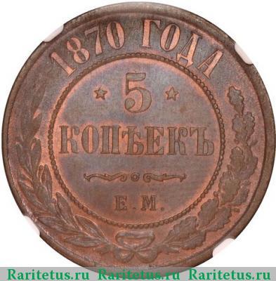 Сколько стоит 5 копеек 1870 года медная металлоискатель фортуна м купить в россии